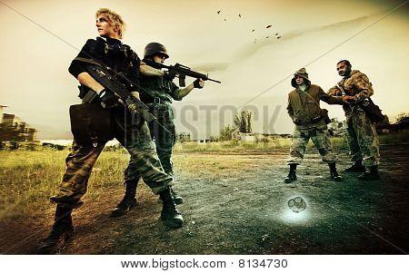 Military Patrol In Chernobil