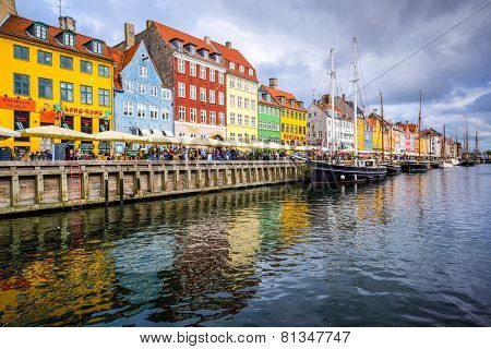 COPENAGEN, DENMARK - SEPTEMBER 15, 2013: Waterfront of Nyhavn canal. The bar-lined waterfront dates from the 17th century.