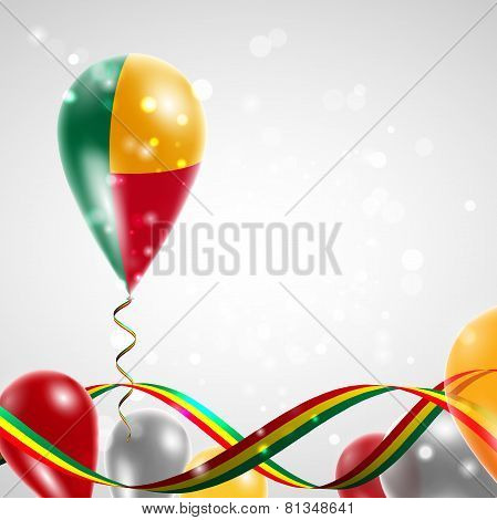 Flag of Benin on balloon