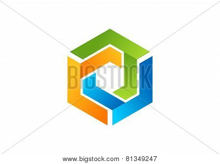cube element geometry logo line 3D,modern square box elements symbol icon