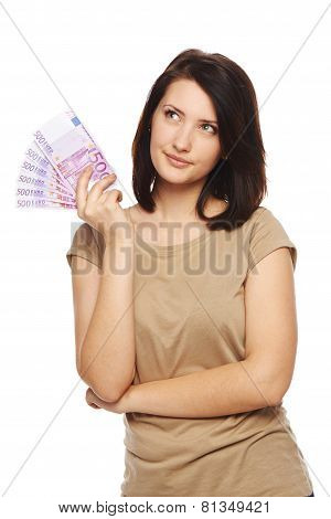 Woman with euro cash