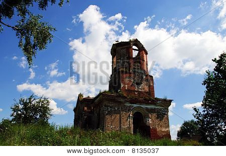 Stork Nest And The Old Ruinous Church