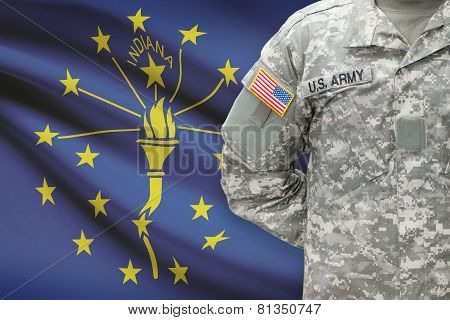 American Soldier With Us State Flag On Background - Indiana