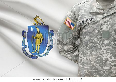 American Soldier With Us State Flag On Background - Massachusetts