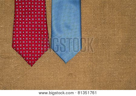 Beautiful Colored Ties On The Old Sacking