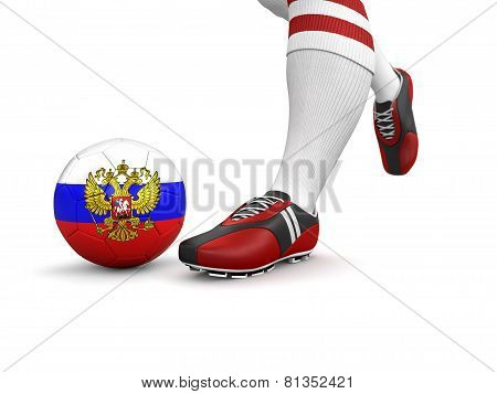 Man and soccer ball  with Russian flag (clipping path included)