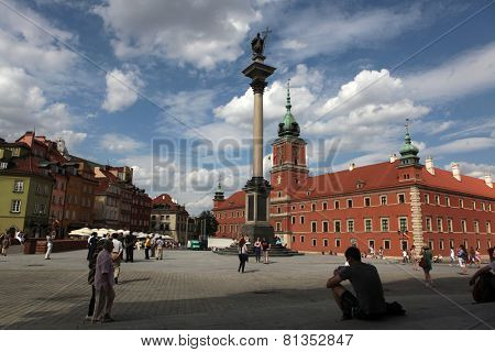 WARSAW, POLAND - JULY 31, 2013: King Sigismund Column and the Royal Castle in Warsaw, Poland.