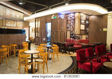 SHENZHEN, CHINA-JAN 22: Pacific Coffee interior on January 22, 2015. Pacific Coffee Company is a Pacific Northwest U.S.- style coffee shop group originating from Hong Kong