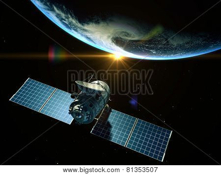 Satellite Is Orbiting Around The Earth