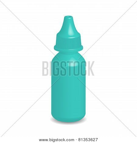 Illustration Of Green Eye Dropper Bottle With Cap Isolated On White Background