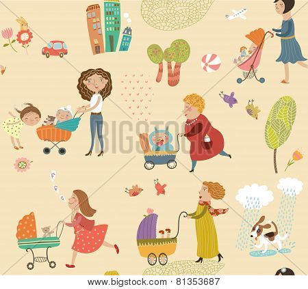 Cute background with mothers and children