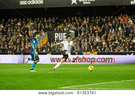 VALENCIA, SPAIN - JANUARY 25: Daniel Parejo in action during Spanish League match between Valencia CF and Sevilla FC at Mestalla Stadium on January 25, 2015 in Valencia, Spain