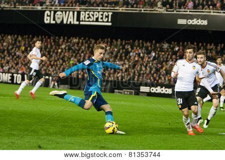 VALENCIA, SPAIN - JANUARY 25: Deulofeu in action during Spanish League match between Valencia CF and Sevilla FC at Mestalla Stadium on January 25, 2015 in Valencia, Spain