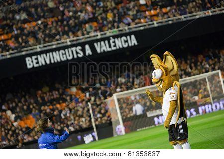VALENCIA, SPAIN - JANUARY 25: Valencia team mascot during Spanish League match between Valencia CF and Sevilla FC at Mestalla Stadium on January 25, 2015 in Valencia, Spain