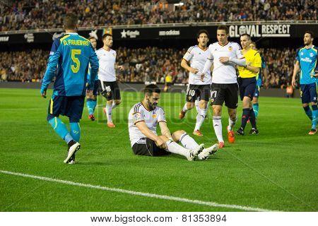 VALENCIA, SPAIN - JANUARY 25: Negredo earned a penalty during Spanish League match between Valencia CF and Sevilla FC at Mestalla Stadium on January 25, 2015 in Valencia, Spain