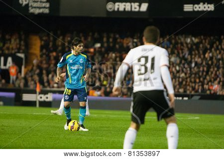 VALENCIA, SPAIN - JANUARY 25: Ever Banega during Spanish League match between Valencia CF and Sevilla FC at Mestalla Stadium on January 25, 2015 in Valencia, Spain