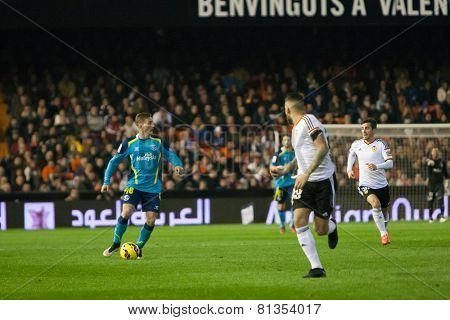 VALENCIA, SPAIN - JANUARY 25: Deulofeu (L) during Spanish League match between Valencia CF and Sevilla FC at Mestalla Stadium on January 25, 2015 in Valencia, Spain