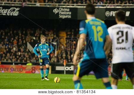 VALENCIA, SPAIN - JANUARY 25: Deulofeu with a ball during Spanish League match between Valencia CF and Sevilla FC at Mestalla Stadium on January 25, 2015 in Valencia, Spain