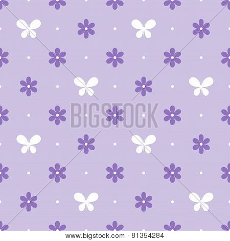 Seamless violet pattern with flowers and butterflies, vector