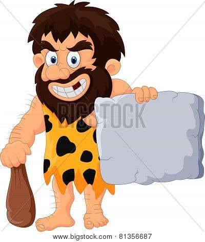 Caveman cartoon with stone tablet