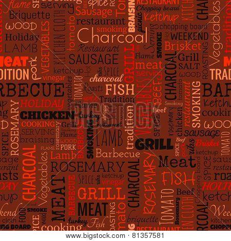 BBQ word seamless pattern