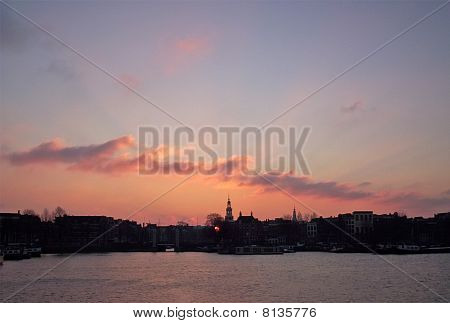 City Landscape Silhouette Sunset, Environment Concept