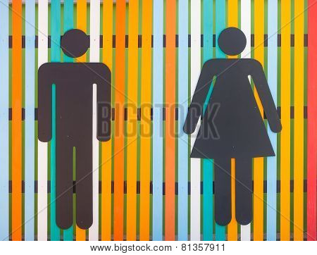 Colorful Restroom Sign