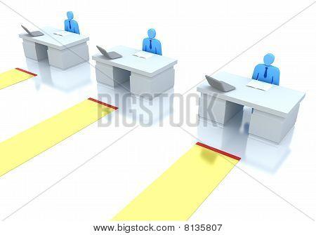 Terminal line . 3D concept .