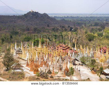 Inn Thein Pagoda At Indein Village, Inle Lake, Shan State, Myanmar