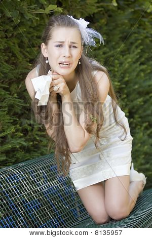 Crying Bride With Handkerchief