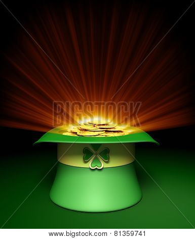 Leprechaun Green Hat With Gold Coins