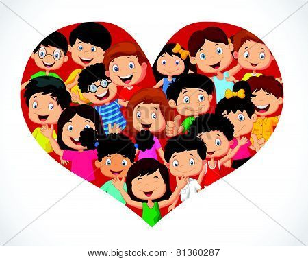 Crowd children cartoon in heart formation