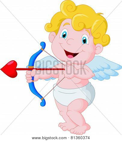 Funny little cupid cartoon aiming at someone