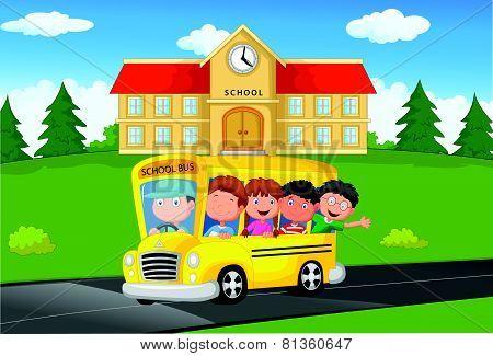 School Kids cartoon Riding a Schoolbus
