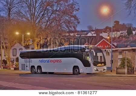 National Express Coach at Night