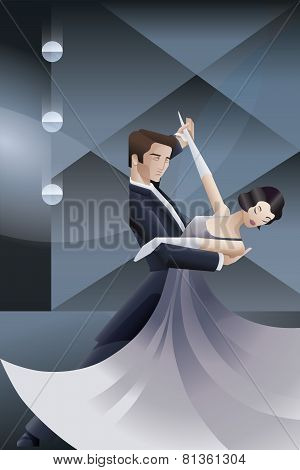 Dancing couple Art Deco geometric style poster
