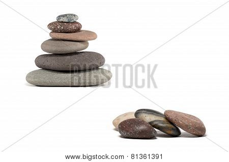 Colorful Stones And Stone Cairn Isolated On White