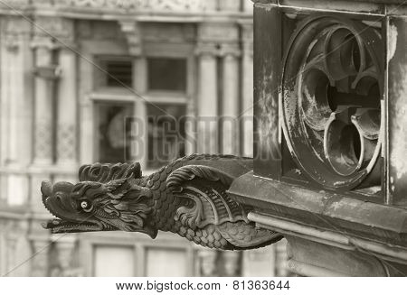 Antique Dragon Shaped Gargoyle In Edinburgh, Scotland. Uk