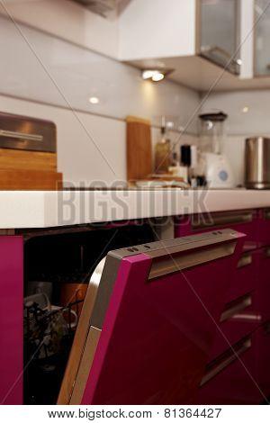 Open Pink Washing Machine