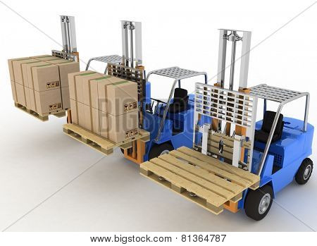 Three loaders with cargo and without cargo. 3d image on a white background