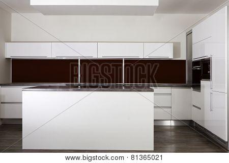 Empty White Kitchen