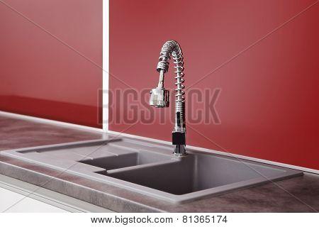 Sink In Red Kitchen