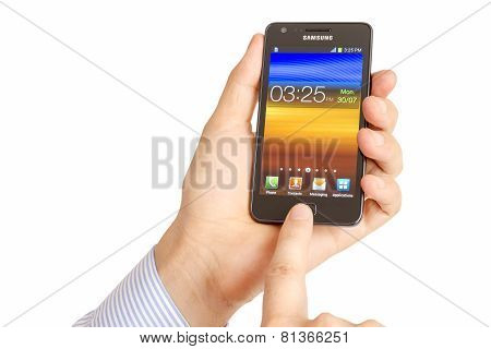 Hand Holding Samsung Galaxy S2