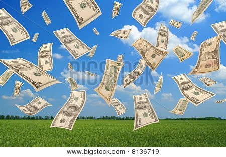 Falling dollars (field background)