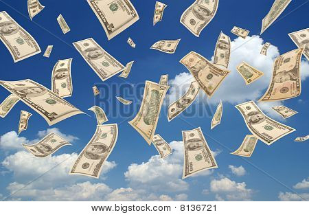 Falling dollars (sky background)