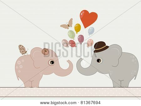 Two Cute Elephants