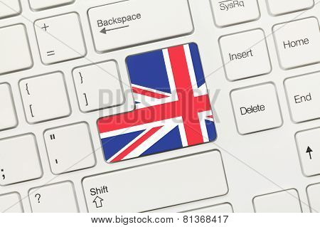 White Conceptual Keyboard - Great Britain (key With Flag)