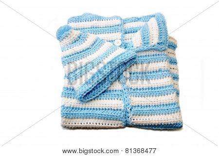 Blue & White Newborn Crochet Baby Bunting & Hat