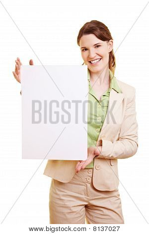 Businesswoman Showing Empty Billboard