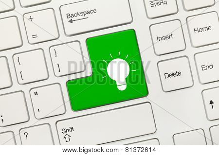 White Conceptual Keyboard - Lamp Symbol (green Key)